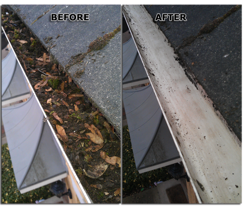 before and after gutter clean